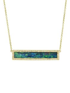 Jennifer Meyer Jewelry -Opal Inlay Diamond Bar Necklace    Handcrafted in 18-karat yellow gold.  Detailed in diamonds and opal.  Diamonds total 0.35 carats.  Bar measures 1 3/16-in. across by 1/4-in. long.  Necklace measures 16-in. long and is a 14-karat gold chain.  Finished with a spring ring clasp.