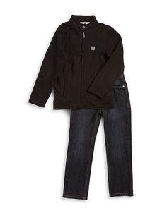 Calvin Klein Boys 2-7 Zip-Up Jacket and Jeans Set  Black/Blue 6
