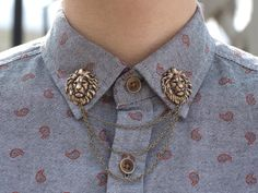 Bronze lion collar chains from Dapper and Swag