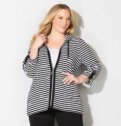 Shop blinged hoodies with rhinestone clusters like our plus size Embellished Stripe Active Hoodie available in sizes 14-32 online at avenue.com. Avenue Store