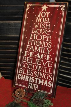 2013 Christmas Subway Style Wooden Signs, Christmas Tree Wood Signs, Hand Painted Christmas Sign