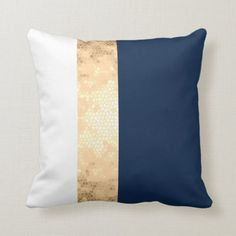Elegant gold navy blue white stripes throw pillow is part of Dark Living Room Gold - Minimalist, modern and stylish design representing faux gold stripe on a white and navy blue background Blue And Gold Bedroom, Navy Blue Bedrooms, Blue Bedroom Decor, Blue Living Room Decor, Gold Rooms, Blue Rooms, Living Room Designs, Navy Blue Decor, White And Gold Pillows