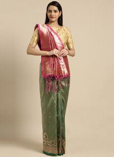 Sareetag Green  Designer Classic Party Wear Saree Bridal Sarees Online, Trendy Sarees, Green Saree, Art Silk Sarees, Traditional Sarees, Half Saree, Party Wear Sarees, Green Fashion, Indian Sarees