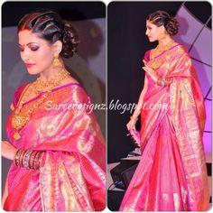 Parvathy Omanakuttan in a Bright Pink Kanjivaram Saree by Gaurang Shah