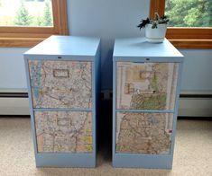 Fancy File Cabinet Decoupage Map  I have to do this with my classroom file cabinets!  Love this idea.