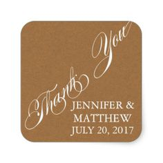 SCRIPT WEDDING THANK YOU LABELS SQUARE STICKER