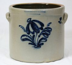2 gallon crock with nice blue floral characteristic of the Burger pottery factory.