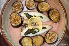 Baked mackerel with sage and aubergine