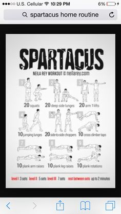 picture about Spartacus Workout Printable identify Spartacus Exercise session printable Edition