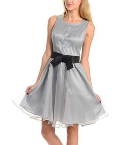 Silver Bow Fit & Flare Dress