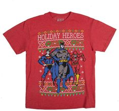 Mens Crew Neck Short Sleeve Christmas DC Heroes Graphic T-Shirt Superhero Gifts, Best Superhero, Batman Superhero, Superman, Winter Shirts, Dc Heroes, Christmas Shirts, Dc Comics, Crew Neck