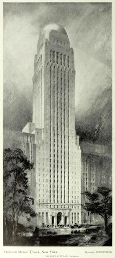 Hugh Ferris drawijg - Caughy & Evans Architects - Design for the proposed Medici Tower, New York City