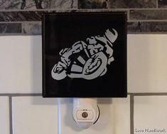 SPORT BIKE Motorcycle Rider Cartoon Etched Glass Black Wall Etched Glass, Glass Etching, Black Walls, Sport Bikes, Wall Tiles, Door Handles, Motorcycle, Cartoon, Handmade