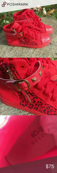 🆕 Red Leopard High Tops Red leopard print high-top Oxford sneakers complete with studs, zippers, and buckles - from brand Revolve in Europe, in EUC. These are almost new except for a few small black scuffs on the soles. Very bold style! REVOLVE Shoes Sneakers