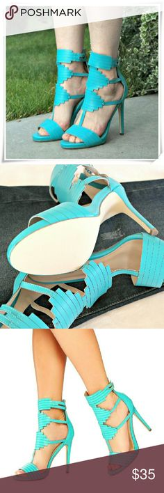 """Vaunna sandals heels in teal. Trendy and dressy san?dal in teal with open? toe, ribbed front st?rap, Aztec design, an?d adjustable ankle st?rap.   Details: heel 4-?3/4"""", platform 3/4"""", high arch, ?the fit is narrow, will perfectly fit 7.5N, might fit 8N, ask m?e about measurments. JustFab Shoes Heels"""