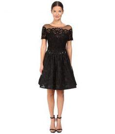 Marchesa Notte Brocade Cocktail with Pockets (Black) Women's Dress
