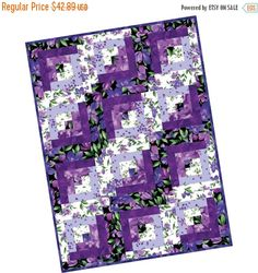 Catalina Ultra Violet Pre Cut Quilt Kit by Maywood Studio with Top and Binding Fast Shipping Marianne, Flower Quilts, Log Cabin Quilts, Jellyroll Quilts, Book Quilt, Kit, Decorative Pillow Covers, Pattern Books, Floral Fabric