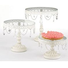 Jeweled Vintage French White Cake Stands, Set of 3 Online  $120
