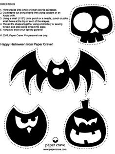 Freebie Halloween Garland, Banner.  Use the cutouts for invitations, signs, and other decorations. Bat, Skull, Owl and Pumpkin