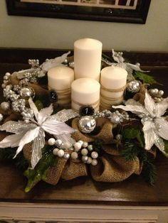 Silver, White and Burlap Advent Wreath