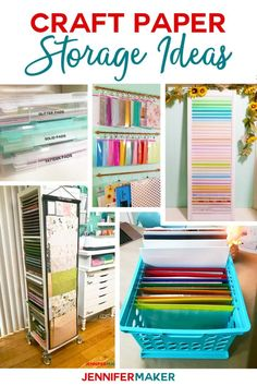 Craft Paper Storage Ideas and Solutions - The Best Organization Solutions! - Jennifer Maker : Craft Paper Storage Ideas and Solutions - The Best Organization Solutions! Scrapbook Paper Storage, Craft Paper Storage, Craft Organization, Paper Craft, Scrapbook Rooms, Scrapbook Organization, Organizing Life, Kids Craft Storage, Bookcase Organization