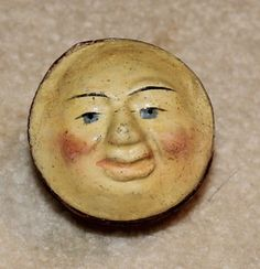 VINTAGE ANTIQUE TWO SIDED MAN IN THE MOON FACE SQUEEK TOY 1800'S.  Side 1.
