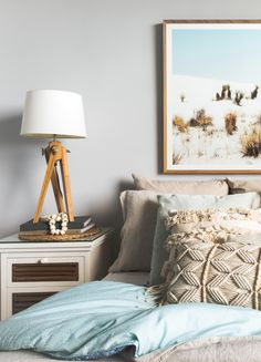Home Interior Designer on Sydney's Northern Beaches Bedroom Turquoise, Tripod Table Lamp, Turquoise Water, Beautiful Interiors, Home Renovation, Bedside, Moroccan, Amanda, Greek