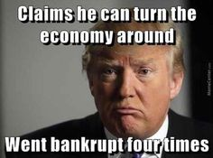 Trumpkin CAN turn the economy around, just not for the better. The American economy is still recovering from the LAST Republican president's damage. Trump could have it in the crapper again in a matter of months. Donald Trump Images, Donald Trump Funny, Bernie Sanders, Caricatures, Funny Images, Funny Pictures, Funny Pics, It's Funny, Jokes