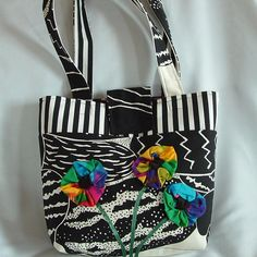 Funky Canvas Tote with Psychedelic Flowers by wiredroxz on Etsy Fashion Handbags, Psychedelic, Canvas, Trending Outfits, Unique Jewelry, Handmade Gifts, Flowers, Etsy, Vintage