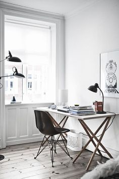 Home office inspiration | Karsten Damstedt pretty desk | simple, minimal desk | pretty home office | light-filled office | dream office.