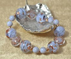 Chalcedony & Baby Blue Murano Glass Bracelet £33.50