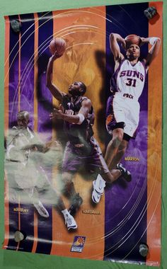 Phoenix Sun Poster Anfernee Hardaway Stephon Marbury Shawn Marion Basketball NBA