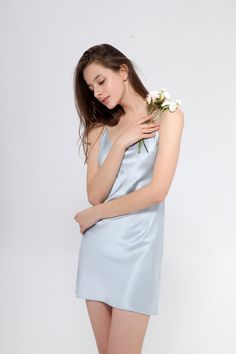 Silk Only Silk Chemise With Thin Strap - Silver Blue