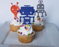 Robot cupcake toppers/robot toppers/robot birthday/robot party/robot party decor/robot birthday part Birthday Cake Toppers, Cupcake Toppers, Cupcake Cakes, Cup Cakes, Robot Cupcakes, Robot Cake, Brownie Desserts, Brownie Cake, Brownies