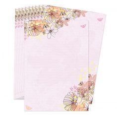 Leuke set briefpapier in zachte kleurentinten, met mooie rustige afbeeldingen van bloemen en vlinders.  Set van 10 vellen, formaat A5 (21 x 14,8 cm). Dit postpapier is exclusief te verkrijgen bij Lojo.