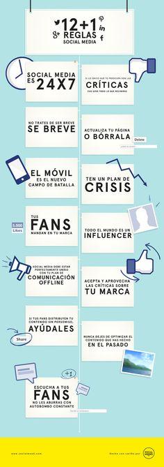 12 reglas para las redes sociales || Infografía