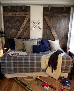 A train room with Barn Doors Boys Train Bedroom, Train Room, Kids Bedroom, Kids Rooms, Bedroom Ideas, Bedroom Decor, Maputo, Bar Outdoor, Princesa Celestia