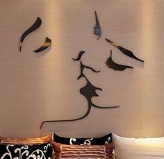 3D Wallpaper For Living Room Wall Stickers Murals, Vinyl Wall Decals, Wall Murals, Bedroom Sofa, Diy Bedroom Decor, Bedroom Ideas, Diy Art, Backdrop Tv, Plant Wall