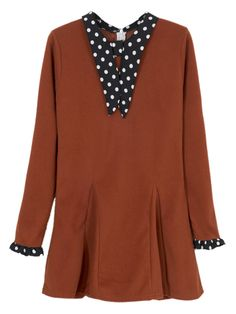 Brick Red Long Sleeve Polka Dot Skater Dress | abaday