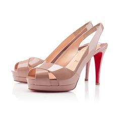 Soso - Christian Louboutin ( Spring Summer Casual Nude Patent leather Sandals Slingback Platforms Straps High Stiletto Open-toed)