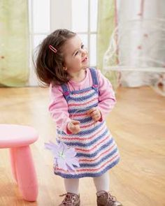 This fun striped jumper is easy to knit and looks adorable in Bernat Cottontots.