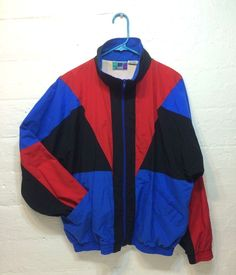 7fbee2e526df Vintage Nylon Jacket Red Blue Black Size Large By High Intensity Track  Jacket