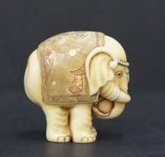 JAPANESE IVORY ELEPHANT NETSUKE - by Gulfcoast Coin and Jewelry