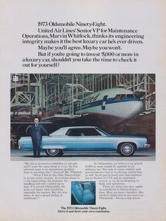 1973 Oldsmobile Ninety-Eight Car Ad United by AdVintageCom on Etsy