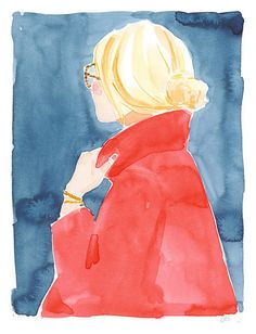 """""""Red Coat"""" by Caitlin McGauley Inspiration Art, Art Inspo, Watercolor Illustration, Watercolor Paintings, Watercolours, Flower Studio, Watercolor Portraits, Fashion Sketches, Fashion Illustrations"""