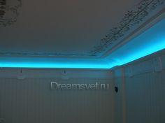 Подсветка  потолка светодиодной RGB лентой