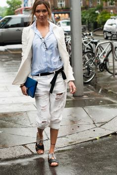 Katie Cassidy // What Katie Wore // Topshop Distressed Denim // Miu Miu Sandals // Celine Clutch