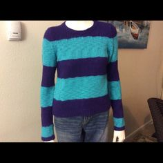 Loft sweater in excellent condition. Purple and Aqua Ann Taylor Loft beautiful sweater in excellent condition. It looks new. Ann Taylor Loft Sweaters