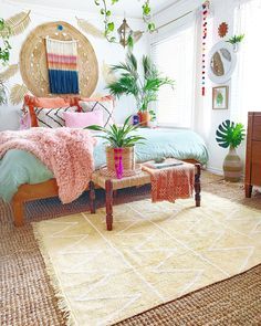 Boho chic bedroom decor that inspires creativity! Cool ideas for a summer decora Boho chic bedroom decor that inspires creativity! Cool ideas for a summer decoration! Hippy Yellow Rug from Lorena Canals! Hippie Bedroom Decor, Boho Chic Bedroom, Boho Room, Home Decor Bedroom, Hippie Bedrooms, Boho Decor, Hip Bedroom, Hippie Chic Decor, Boho Chic Interior