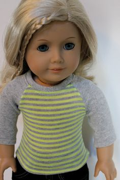 Love the versatility of the Liberty Jane Baseball Tee pattern! Neon Yellow and Grey Striped Baseball Tee by Orange Dot Designs on Etsy